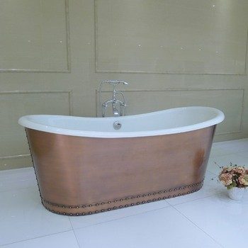 USA hot sale NH-1022-1 Cast Iron Bathtub with Copper Skirt