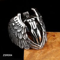 Hotsale Japanese Retro Casting Gothic Jewelry 316L Stainless Steel Non-Head Feather Angel Wing Ring for Men