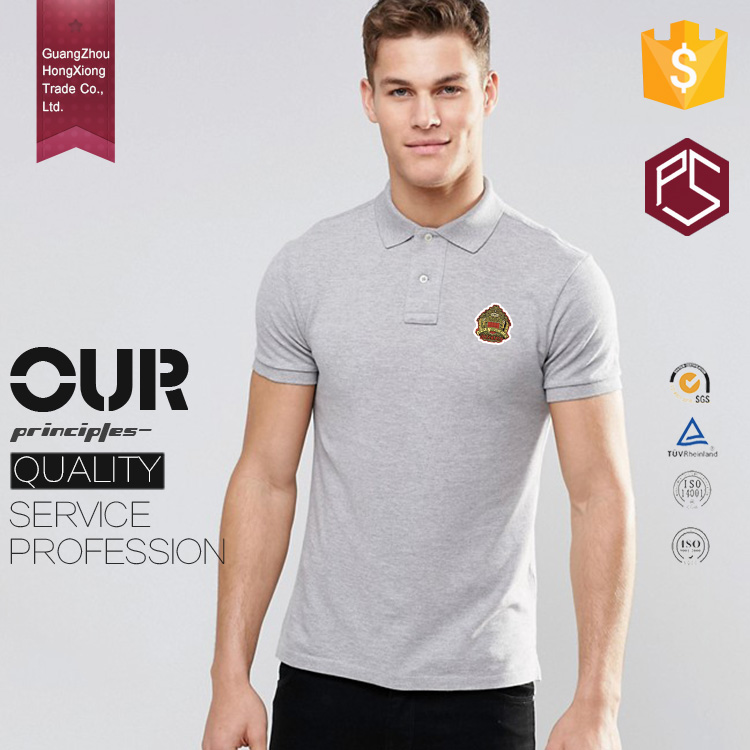 China Factory Free Design Ribbing Collar Short Sleeve Embroidered Logo Gray Men Custom Polo Shirt T-Shirt