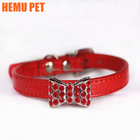2017 hemu velvet bow tie crystal fashion puppy cat safety dog collar buckle pet accessories