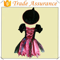 Factory sale kids pink witch fairy costume with witch hat for Halloween