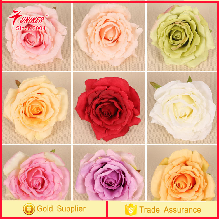 2017 trending product High Quality Rose head Flower Artificial silk flower mixed colors artificial flowers