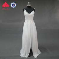 Under 100 V Neckline Spaghetti Straps Chiffon Skirt Sexy Front Slit Cheap Wedding Dresses