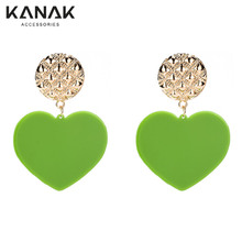 Fashion Picture of Gold Jewelry Multicolor Style Chandelier Peach Heart Earrings