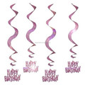 Pink Glitz Happy Birthday Hanging Swirl Party Whirls decoration