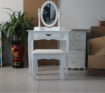 Bedroom Wooden Dressing Table Set, Wooden Dresser with Mirror and Stool