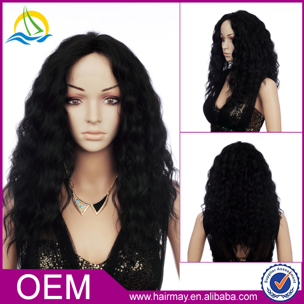 Black long curl lace front hair wig synthetic wig women new design 2016
