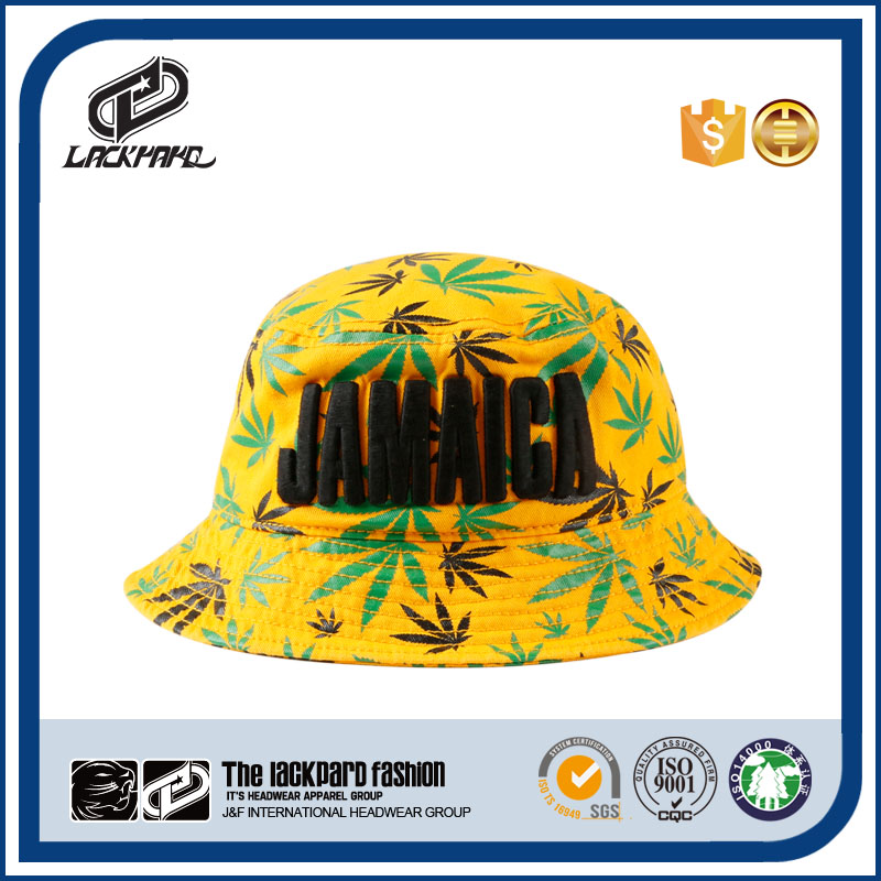 Jamaica national yellow cloche hat with 3D embroidery