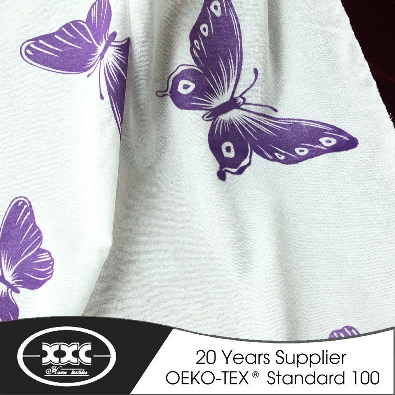 purple butterfly beautiful cheap flocking curtain