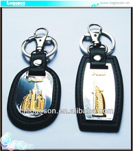Collection travel gift Dubai Tower souvenir custom print leather keyring/keychain leather