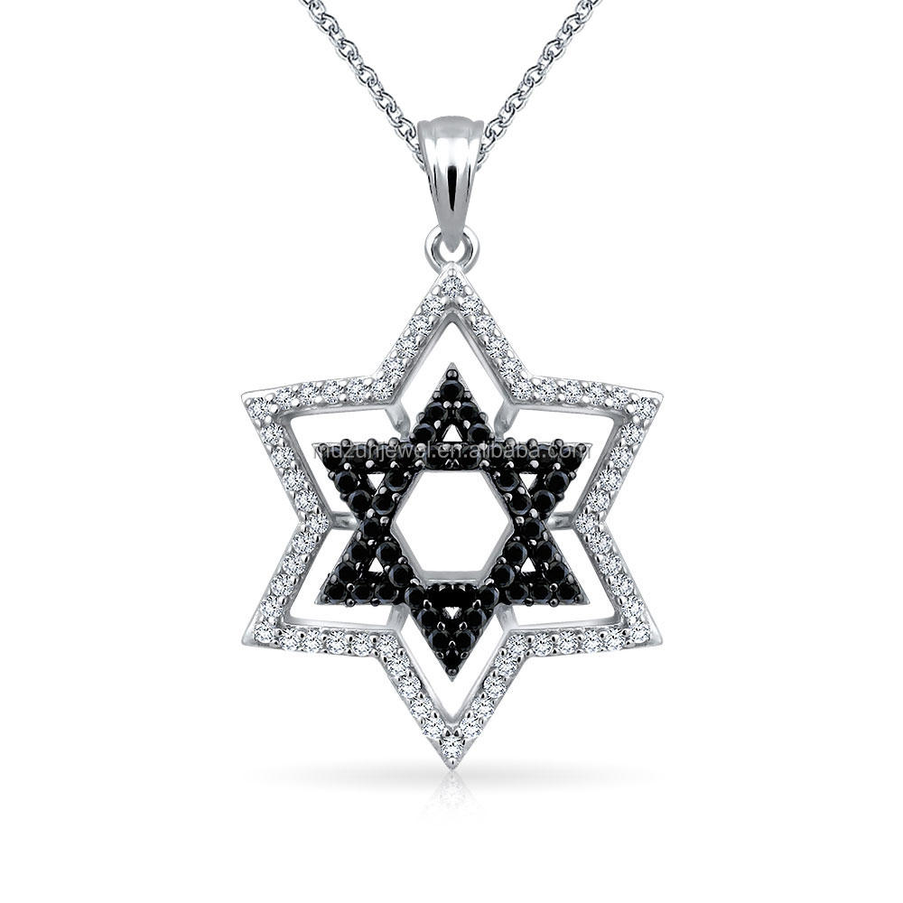 Solid 925 sterling silver star of david charm pendant necklace