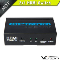 High speed 3D hdmi splitter 2 in 1 out in metal box
