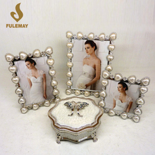 Heart Pearl Diamonds Picture Frames Fashion Metal Alloy Photo Frames