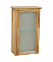Nordic solid oiled walnut wood bathroom wall cabinet with matt glass door