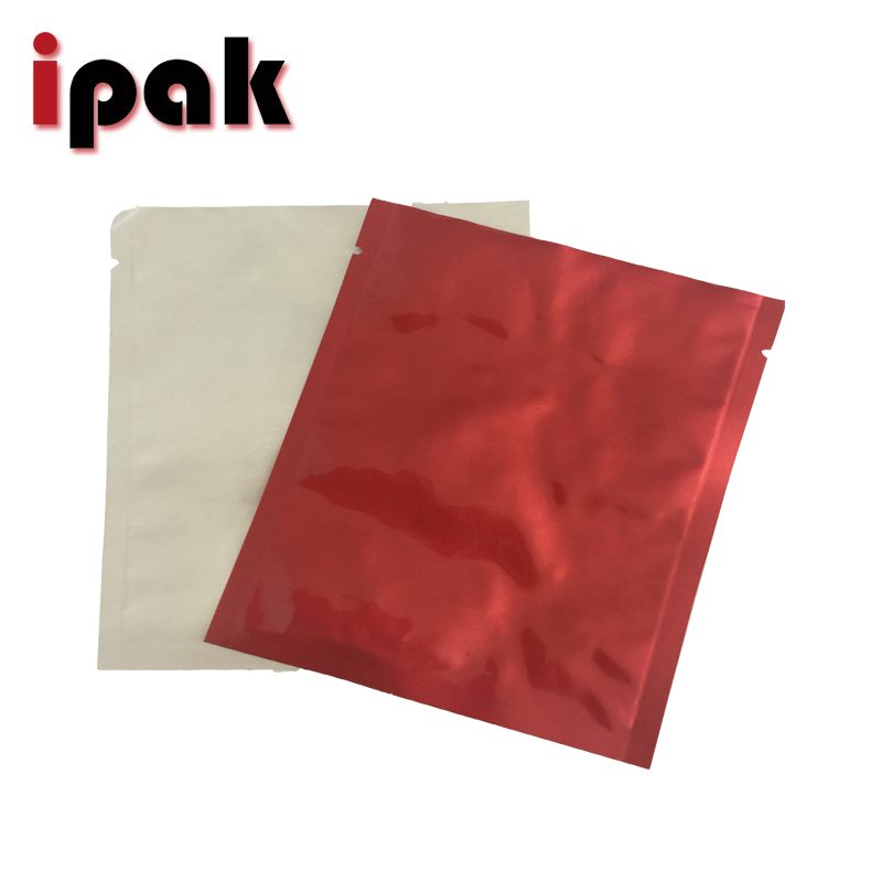 Small size printed red flat foil pouch with tear notch