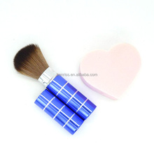 fashion promotional metal pipe Synthetic nylon hair makeup blush brush with stretch wood handle