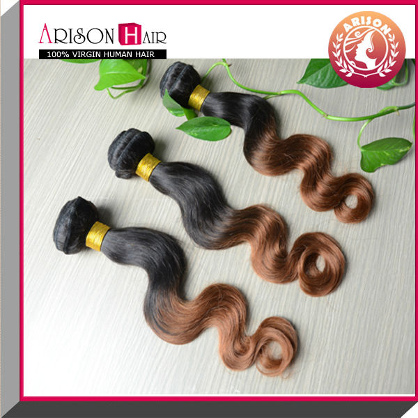 Cheap indian hair weft ombre color