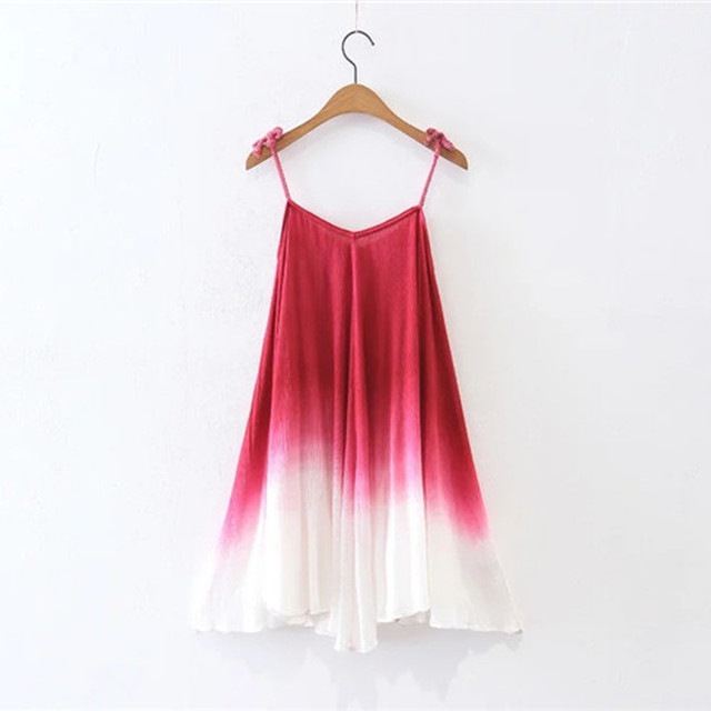 Hot Sale Summer Style Women'S Dresses Sexy V-Neck Spaghetti Strapped Ladies Beach Dress Fashion Gradient Color Dress