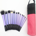 Sedona purple makeup kit with cylinder brush case,12pcs cosmetic makeup brush kit,with cute bag