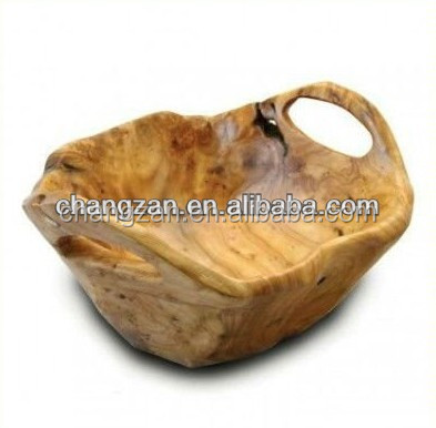 Arts and Crafts Tableware Handly Carved Wooden Root medium Flat Cut Bowl with handles