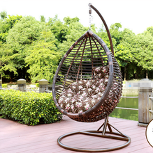 TF-W0025 Black Rattan Hanging Swing Chair Stand+Cushion+Cover 150kg Capacity