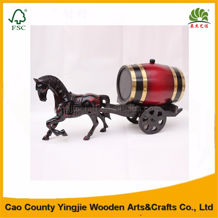 Custom wine wood barrel and horse,Decoration wooden wine barrel,carriage and horse