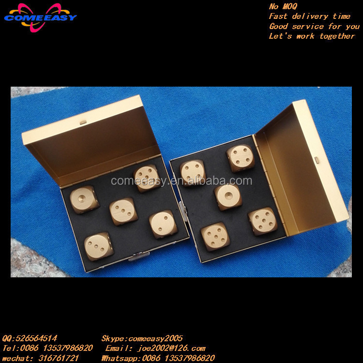 advertising gifts for bar golden colored metal dice sets