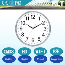 720P HD CMOS sensor digital hidden camera clock wifi p2p remote monitoring support TF card up to 32GB
