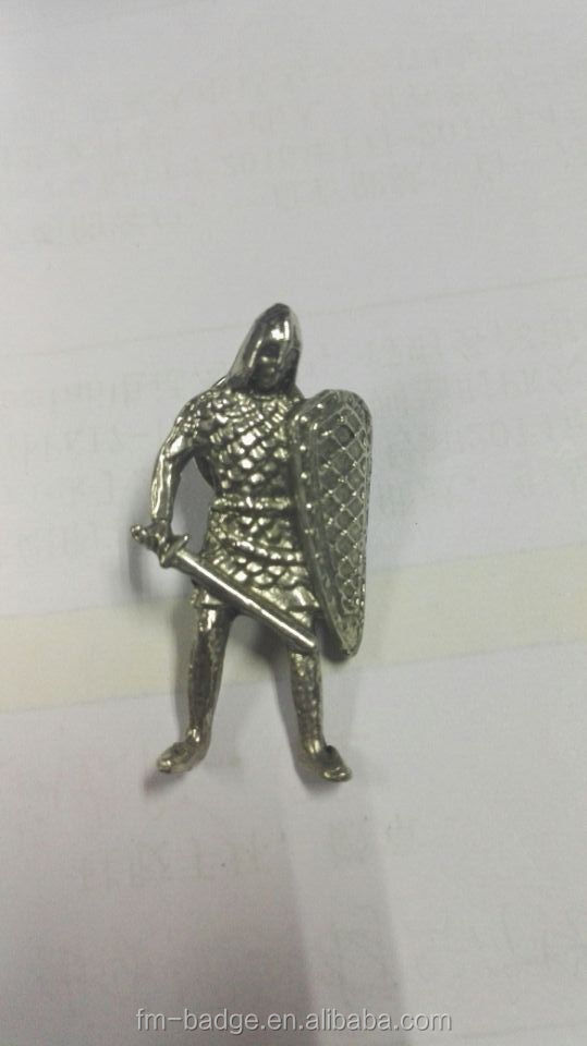 Whole 3D metal crafts selver soldiers with sword souvenir crafts