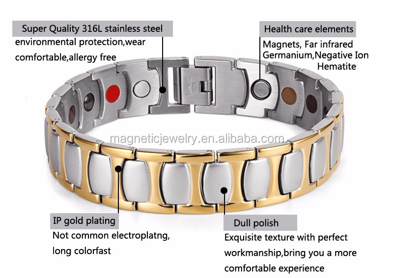 316I Mens Stainless Steel Bracelet with magnets IP Gold Plating stock jewelry