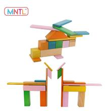 2017 Hot New Products MNTL 6 Piece Magnetic Wooden Blocks Wooden Toys Educational Tiles for Kids Various Models