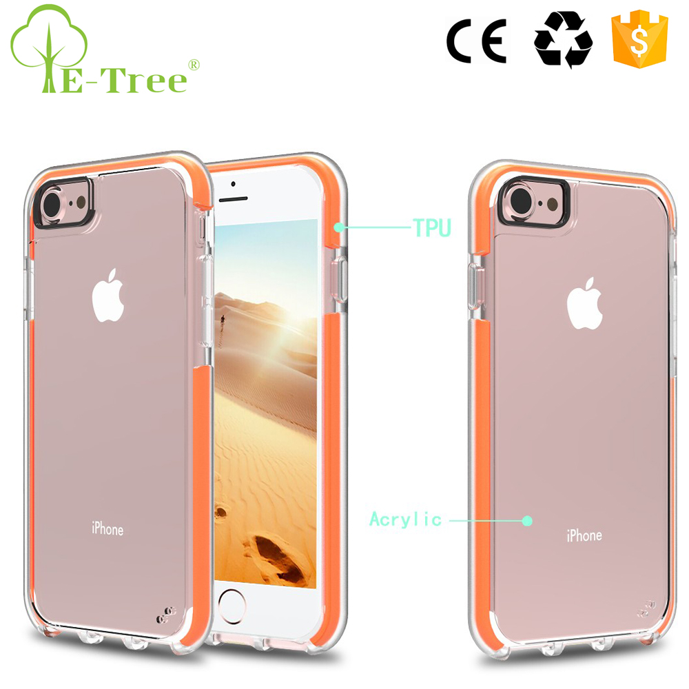 2016 Hot Sale Hard Back Acrylic Hybrid Clear TPU Anti Shock Phone Case For iPhone 7 Bumper Case Cover