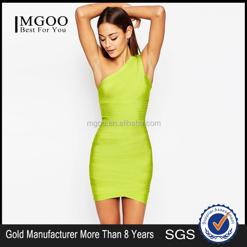 MGOO Summer Slim Sexy Woman Night Club Tight Bandage One Shoulder Mini Bodycon Dress Online Shopping