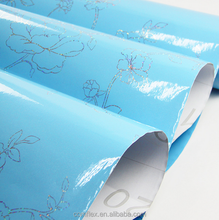 Vinyl Waterproof Blue Glossy Kitchen Cabinet Protection Wallpaper