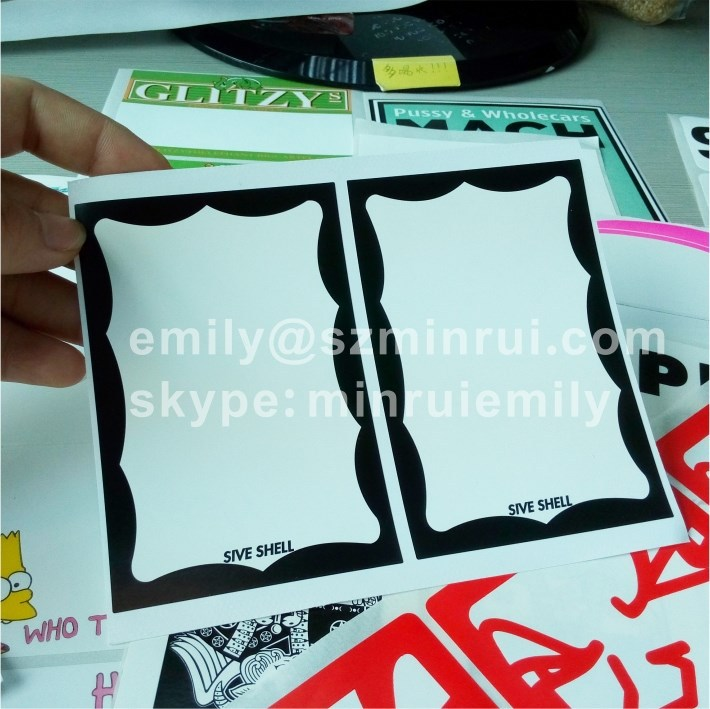 Custom out door use sun-proof ink printed blank eggshell stickers with or without border printed, blank black egg shell stickers
