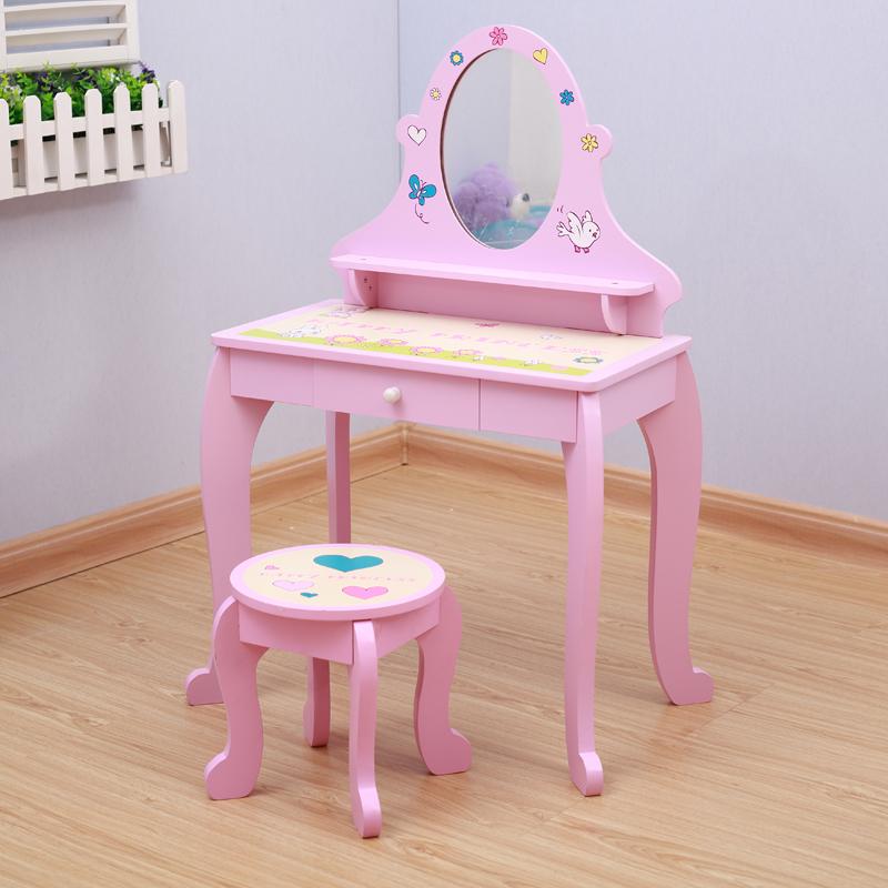 sch ne rosa holz m dchen schminktisch mit hocker in acryl. Black Bedroom Furniture Sets. Home Design Ideas