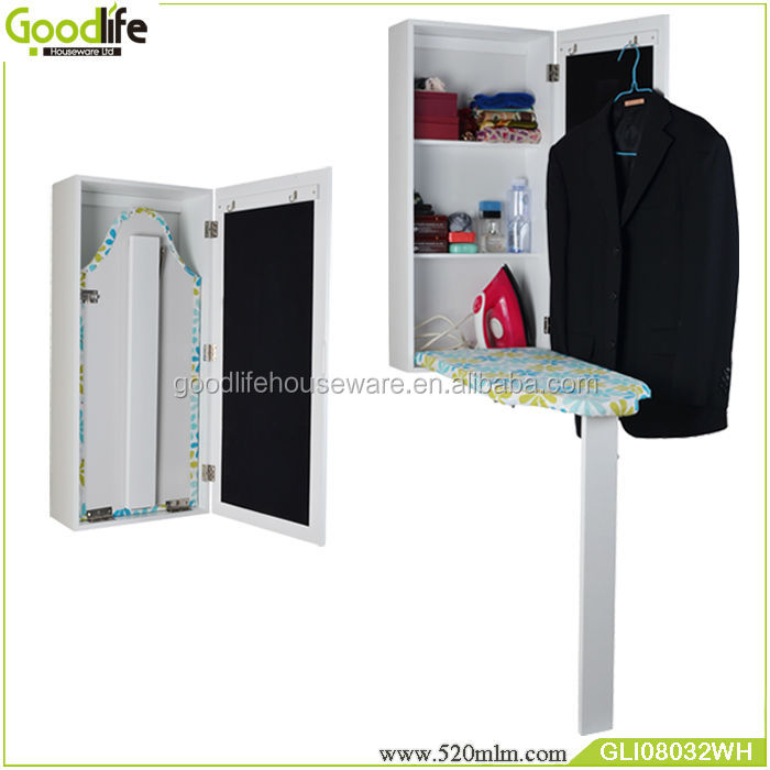 White MDF folding ironing board cabinet with waterproof fabric