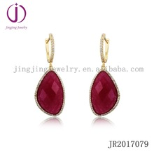 China manufacturer handmade ruby precious stone 925 sterling silver jewelry dangle earrings