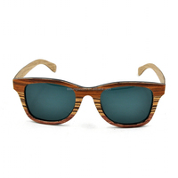 Green lenses wooden sunglasses and sunglasses case