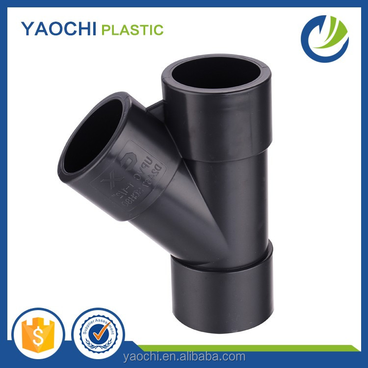 ASTM SCH80 PVC Y tape tee pipe fitting quick connection Y tape tee