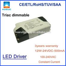 CE SAA ETL approval dimmable 12v 3w led driver circuit 12W