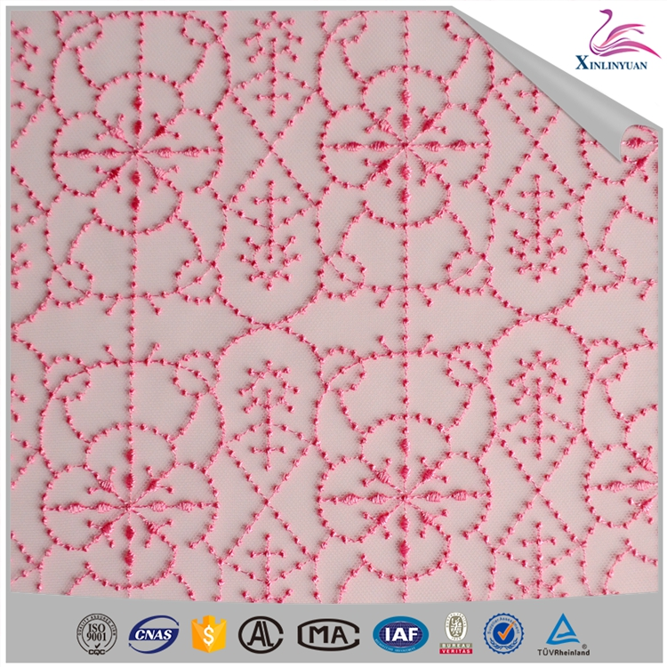 Custom eyelet net lace fabric for dress/lingerie