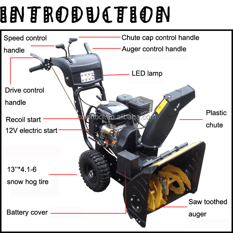 New type garden tools Loncin 6.5hp snow thrower