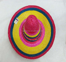 Hot sale colourful mexican sombrero straw hat QHAT-0051