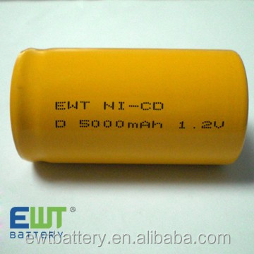 EWT high power size d nicd high/flat top1.2 v 5000mah D5000 ni-cd rechargeable battery for High Capacity rate Power Tools