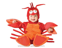 2016 new design hot sale Halloween Baby costumes Red Crawfish Clothing velcro suits with lining(0-2 years)