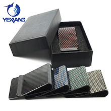 2017 New Carbon fiber Wallet Slim Card Holder Money clip with Smart Tab