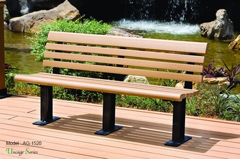 Triumph Kapur wood seat and back patio bench / Public seating bench / wooden gardan bench made in China