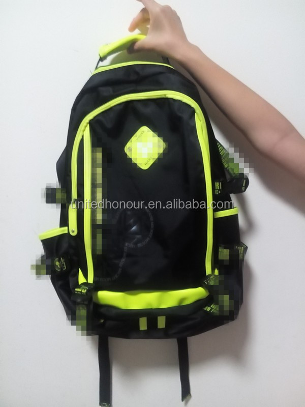 New design polyester quality pattern fashion style neon green teenager backpack school bag wholesale