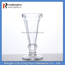 LongRun wholesale fancy design machine press glass icecream cup standing glassware for restaurant